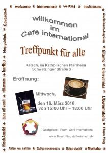 einladung zum 1. café international | flüchtlingshilfe ketsch, Einladung