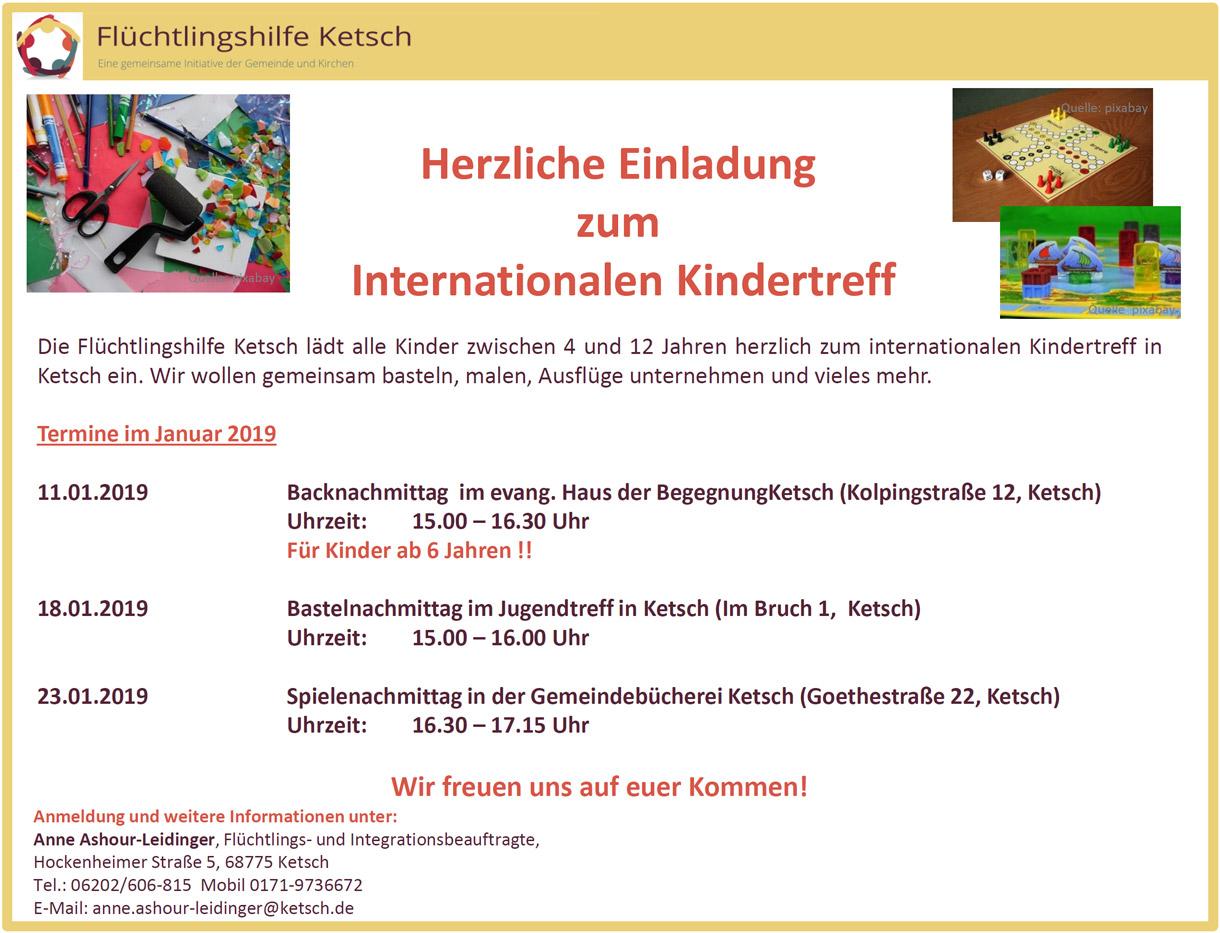 Bild mit der Einladung zum Internationalen Kindertreff am 11., 18. und 23. Januar 2019 (1220x933 Pixel)