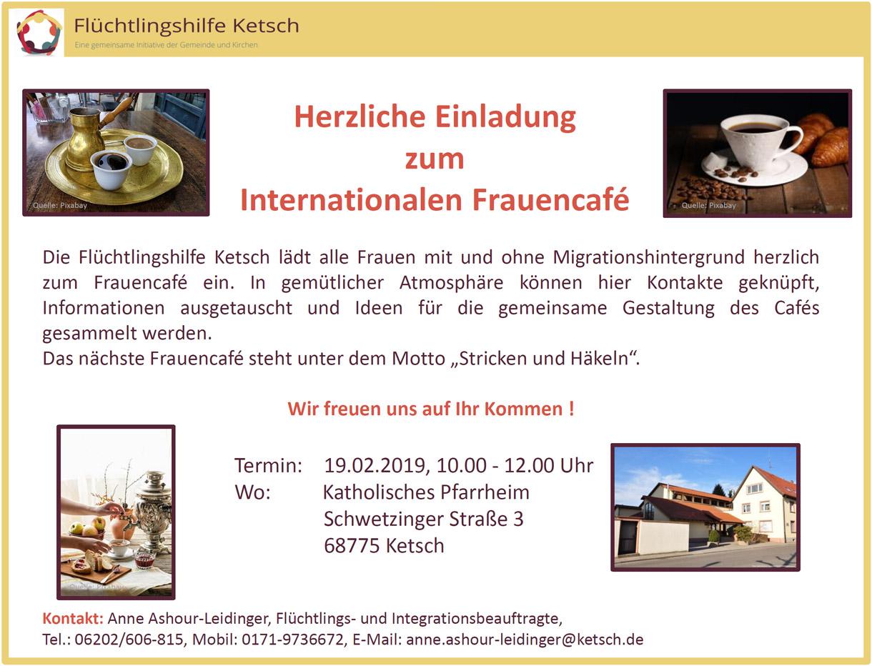 Bild mit der Einladung zum Internationalen Frauencafé am 19. Februar 2019 (1220x932 Pixel)
