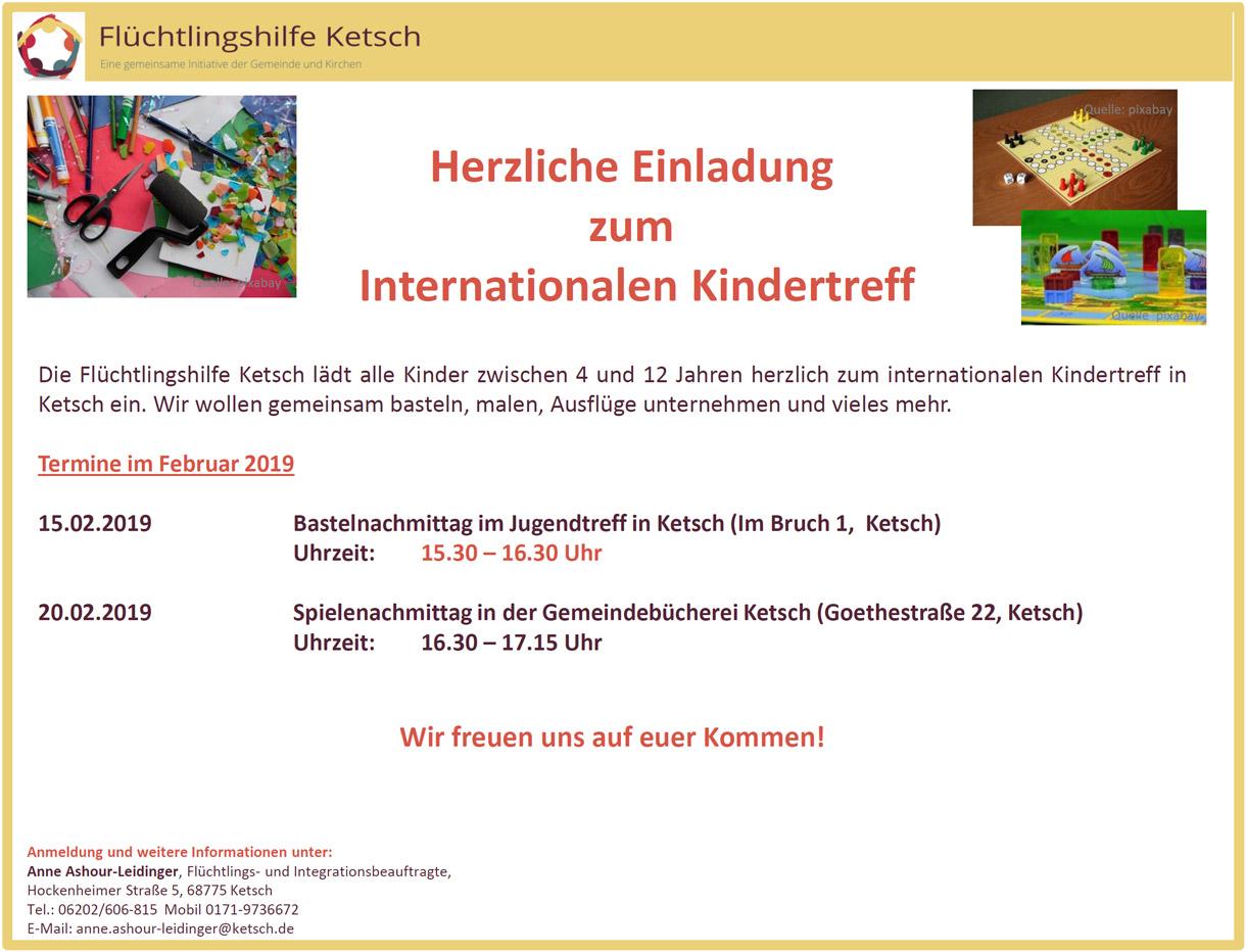 Bild mit der Einladung zum Internationalen Kindertreff am 15. Februar 2019 (1220x932 Pixel)