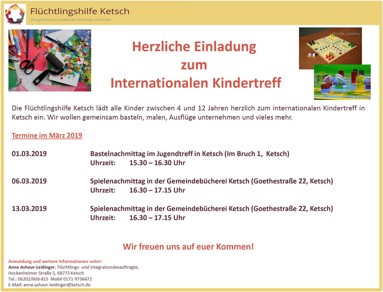 Herzliche Einladung zum Internationalen Kindertreff am am 1., 6. und 13. März 2019