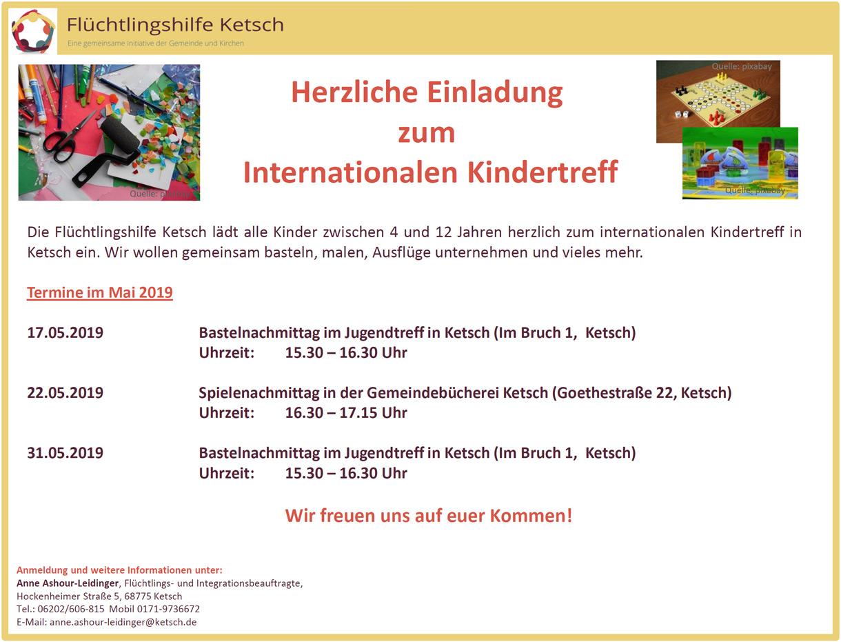 Herzliche Einladung zum Internationalen Kindertreff am am am 17. + 22. + 31. Mai 2019