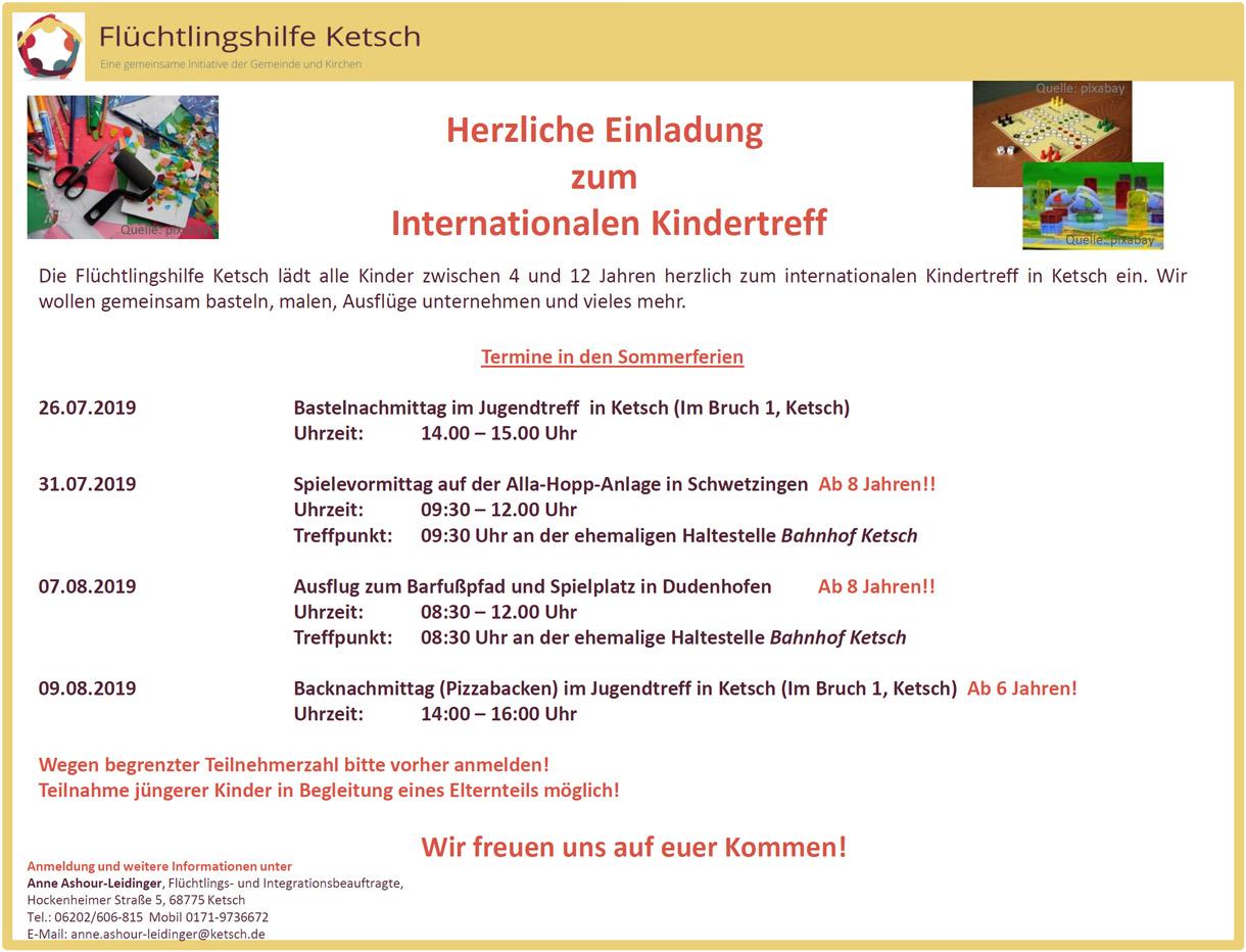 Bild: Herzliche Einladung zum Internationalen Kindertreff in den Sommerferien