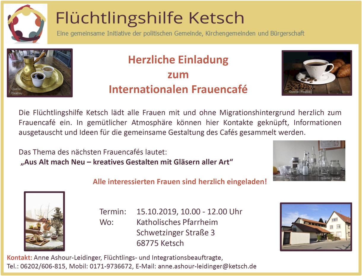 Bild mit der Einladung zum Internationalen Frauencafé am 15.10.2019
