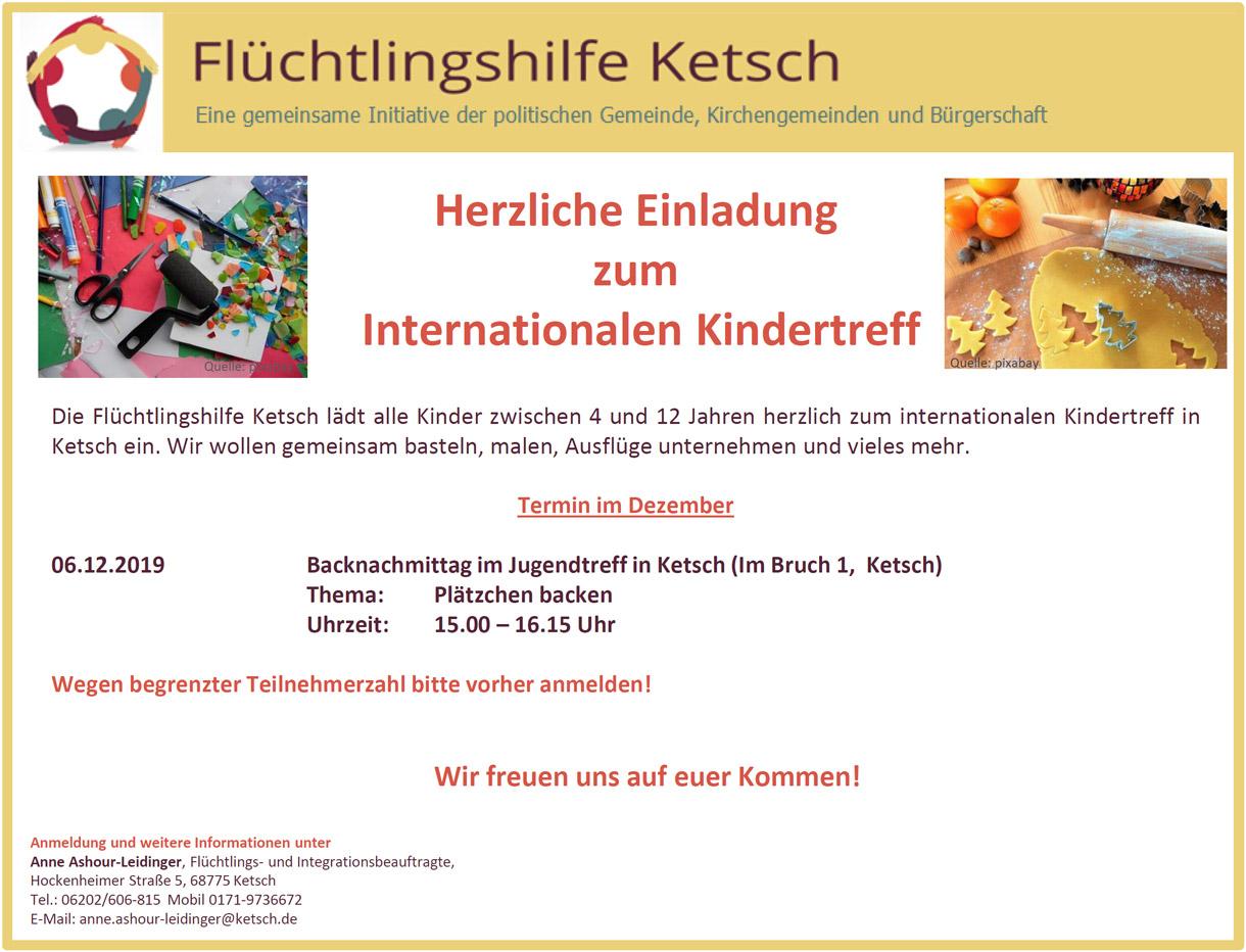 Herzliche Einladung zum Internationalen Kindertreff im Dezember 2019
