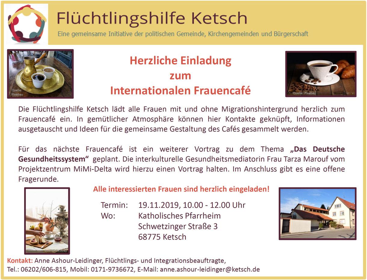 Bild mit der Einladung zum Internationalen Frauencafé am 19.11.2019