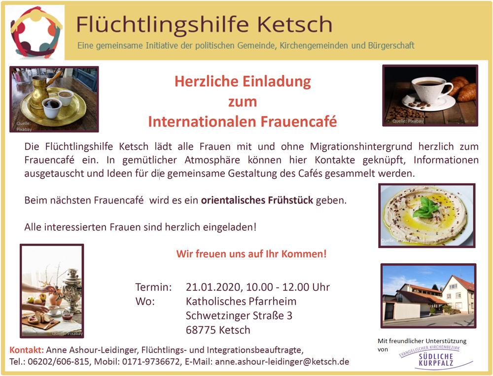 Bild mit der Einladung zum Internationalen Frauencafé am 21.1.2020