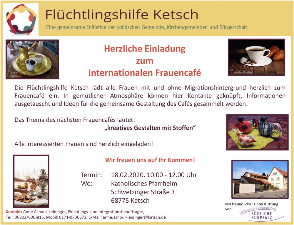 Bild mit der Einladung zum Internationalen Frauencafé am 18.02.2020